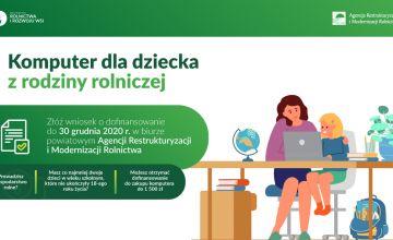 Plakat iformacyjny dotyczący dofinansowania zakupu komputera dla dziecka z rodziny rolniczej