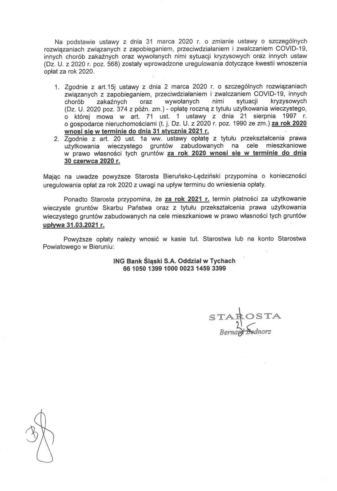 Ogłoszenie Starosty Bieruńsko-Lędzińskiego